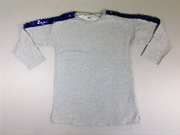 Sweat long molleton gris chiné sequins