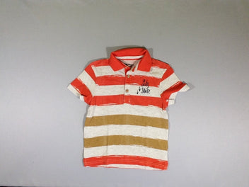Polo jersey m.c. beige/orange flammé