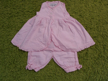 Buissonnière robe s.m + bloomer vichy rose, 9-12m