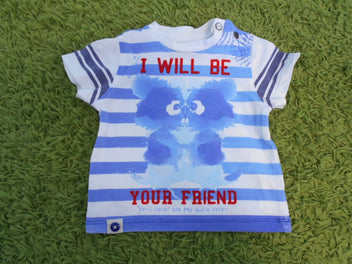 Catimini t-shirt m.c blanc rayé bleu « I will be your friend », 67
