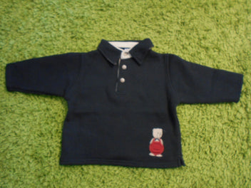 Buissonnière sweat polo bleu marine ours, 9m