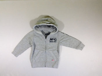Sweat zippé à capuche gris chiné