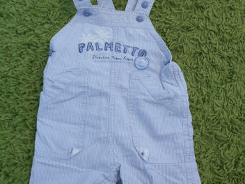 Sergent Major salopette short rayée blanc/bleu clair, « Palmetto », 6m