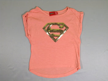 T-shirt m.c saumon superman sequins