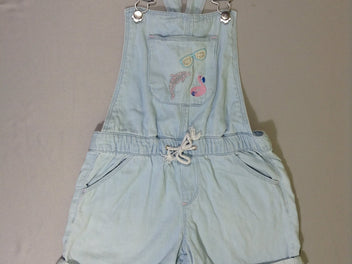 Salopette short jeans clair broderies flamand rose lunettes