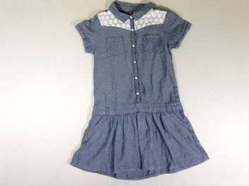 Robe m.c denim broderies poches