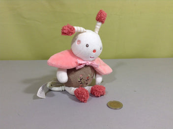 Doudou musical abeille rose/taupe fleurs