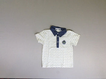 Polo m.c jersey blanc palmiers