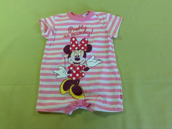Combishort jersey rayé blanc/rose Minnie
