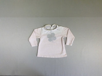 T-shirt m.l col rose pâle rayé rose