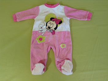 Pyjama velours rose blanc Minnie doudou
