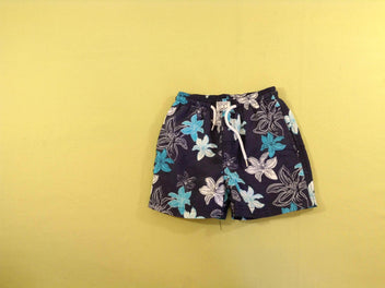 Maillot short bleu marine fleurs blanches/turquoises