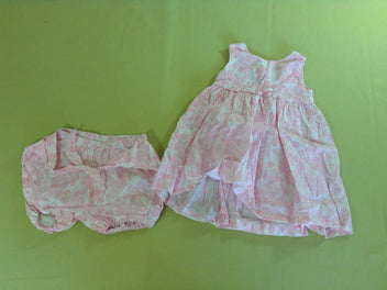 Robe s.m blanc/rose + bloomer