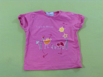 T-shirt m.c rose poule chat