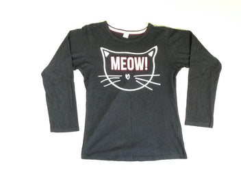 T-shirt m.l noir chat meow