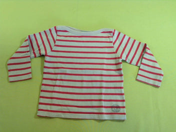 Pull beige rayé rouge-rose