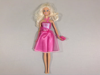 Barbie robe rose, collier + sac + couronne