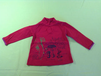 T-shirt m.l col montant rouge nature