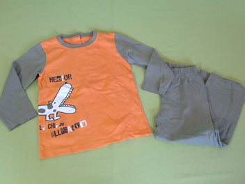 Pyjama 2pcs jersey orange kaki Hector
