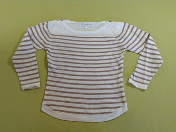 Pull fine maille blanc rayé beige, BBL