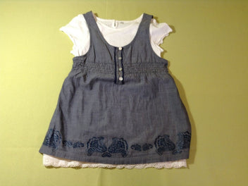 Blouse tunique s.m denim + t-shirt m.c blanc, Little Captain