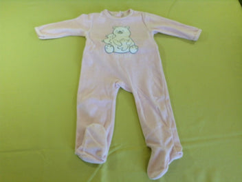 Pyjama velours rose clair ours