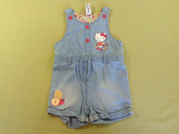 Salopette short jean clair Hello Kitty