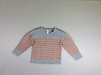 Pull gris chiné rayé orange
