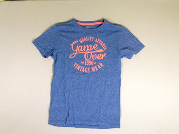 T-shirt m.c. bleu chiné Game over orange