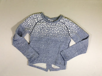 Sweat bleu chiné strass
