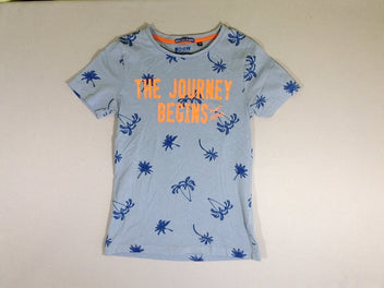 T-shirt m.c. bleu palmiers The journey begins