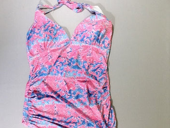 Maillot tie and dye rose/bleu