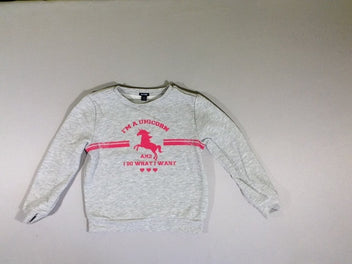 Sweat gris chiné licorne