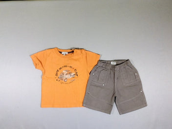 T-shirt m.c orange auto + short coton brun