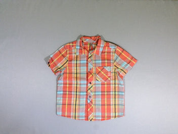 Chemise m..c carreaux orange/jaune