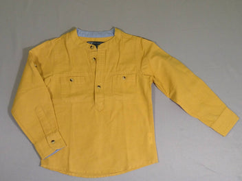 Chemise m.l. col mao jaune moutarde