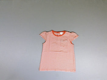 T-shirt m.c blanc rayé orange