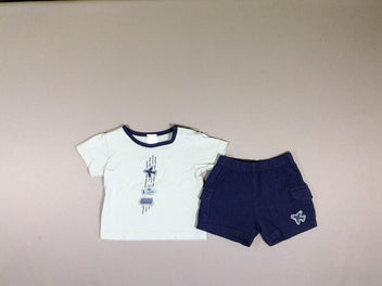 T-shirt m.c bleu avion + short