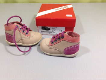 NEUF Chaussures montantes kickers beige/rose, 19