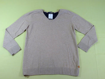 Pull col V beige chiné