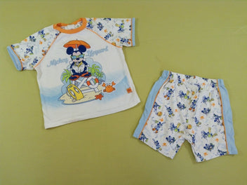 T-shirt + short blanc/bleu/orange Mickey plage