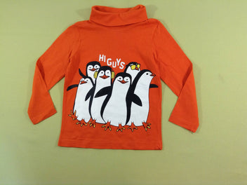 T-shirt col roulé orange pingouins