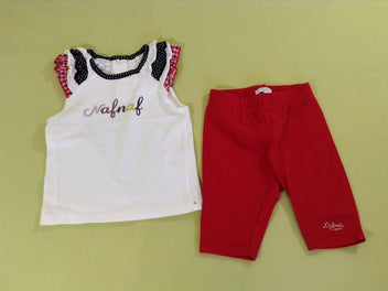 T-shirt m.c blanc/noir/rouge + legging rouge
