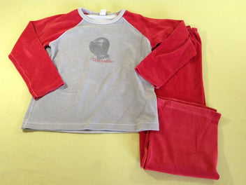 Pyjama 2pcs velours gris/rouge chevalier