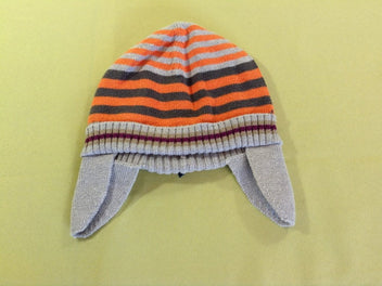 Bonnet rayé gris/orange, doublé jersey