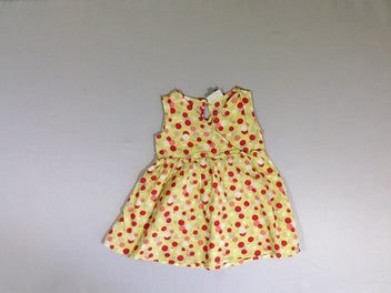 Robe s.m jaune pois rose rouge