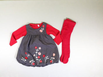 Ensemble 3 pcs t-shirt m.l. rouge + robe s.m. doublée jersey gris anthracite fleurs rose + bas collants rouge