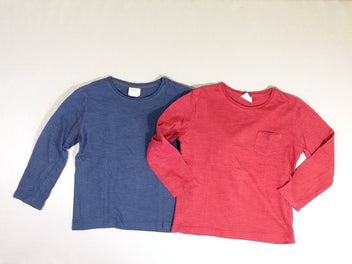 Lot de 2 T-shirts m.l rouge/bleu marine