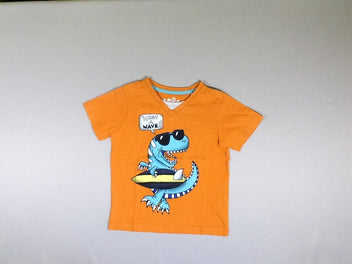T-shirt m.c orange col effet superposé dino surf