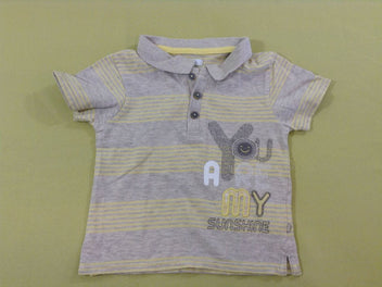 Polo m.c jersey gris chiné rayé jaune You